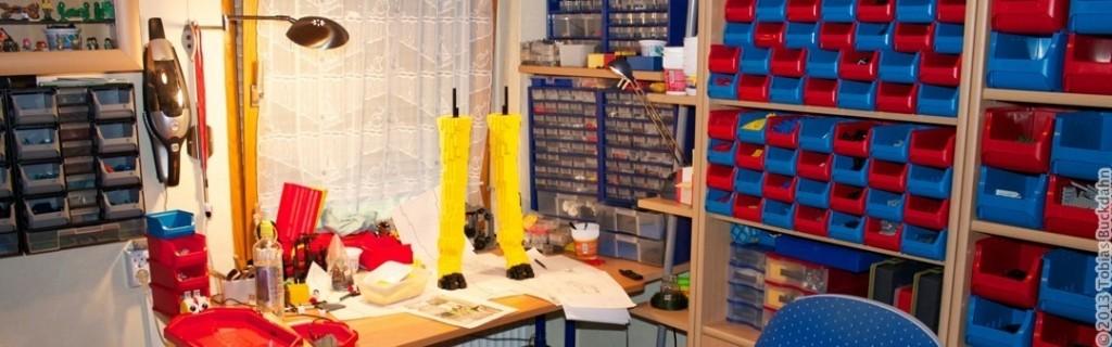 Panorama der Werkstatt beim Bau