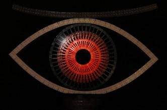 rotes Auge aus Legosteinen