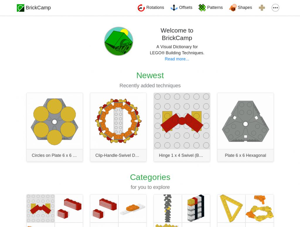 Bildschirmfoto von BrickCamp-Startseite