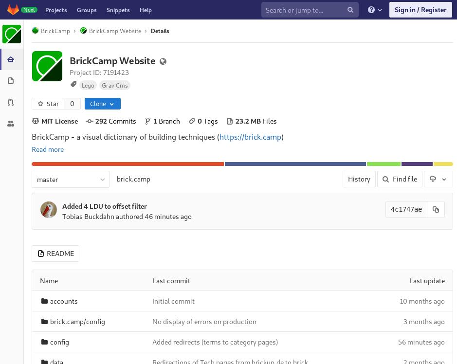 Bildschirmfoto zu BrickCamp Repository